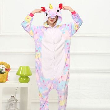 Cool Star Unicorn Kigurumi Onesuit Costume Jumpsuit Soft Fancy Carnival Onepiece Animal Cosplay for Women Girl Adult Kid Home WearAT_93_12