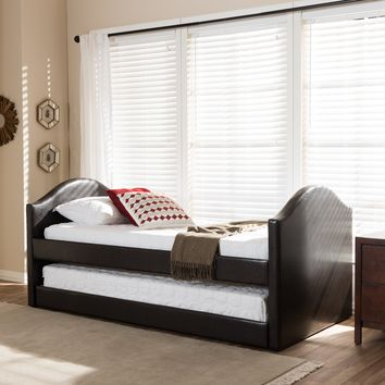 Baxton Studio Alessia Dark Brown Faux Leather Upholstered Daybed with Guest Trundle Bed Set of 1