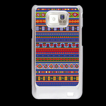 Aztec pattern Blue Inca tribal Samsung Galaxy S2 case, i9100 cover, Samsung Galaxy SII cover, hard case