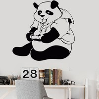 Vinyl Wall Decal Panda Gamer Teen Room Video Game Stickers Unique Gift (ig3946)