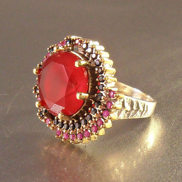 Vintage Sterling Ruby Sapphire Cocktail Ring Moghul Statement Huge Red Natural Gemstone 12.5 grams Size 10