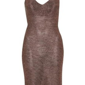 Strappy Chainmail Bodycon Dress - Pink