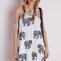 Missguided - Strappy Swing Dress Elephant Print White