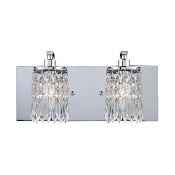 11229/2 Optix 2 Light Vanity In Polished Chrome And Leaded Crystal Glass - Free Shipping!