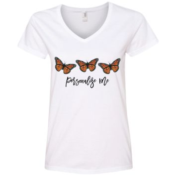 Three Monarch Butterfly Personalized Ladies' V-Neck T-Shirt