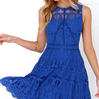 On the Up and Up Cobalt Blue Lace Dress