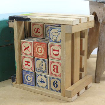 Vintage Wooden ABC Blocks . Uncle Goose . Letters Numbers and Animal Pictures . Nursery Decor . Alphabet Blocks