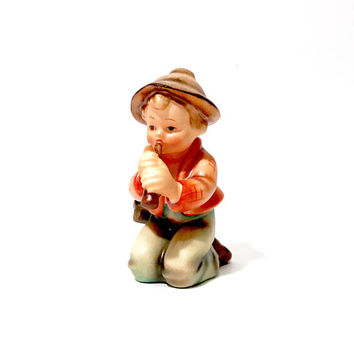 "M.I. HUMMEL ""Little Tooter"", Goebel Nativity Figurine 214, Kneeling Boy Playing Flute, Copn.W. Goebel Collectible Figurine, 4 Inch, TMK- 2"