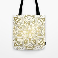 Mandala - Gold Tote Bag by Heather Dutton
