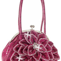 Rhinestone Accent Layered Petal Snakeskin Print Handbag in Burgundy  M