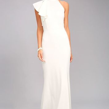 Margaux White One-Shoulder Maxi Dress