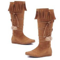 "Women's 1"" Heel Boot with fringe and poms"
