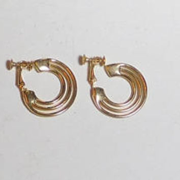 Screw Back Earrings Gold Tone, Cut Out Design, Never Worn, Vintage 70s 80s, Costume Jewelry