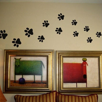 Paw Prints Vinyl Wall Words Decal Sticker Graphic