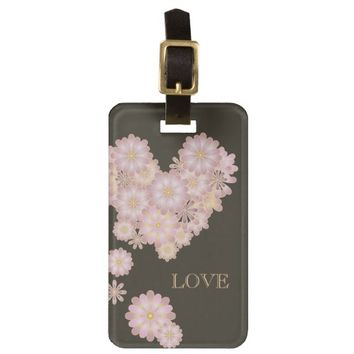 Floral Love Girly Bag Tag for Her: Sweet Luggage Tag for Romantic Journey