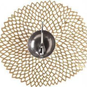 CHILEWICH Pressed Dahlia Placemat S/4 | Brass
