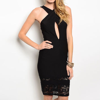 Cross Over Key Hole Midi Dress in Black