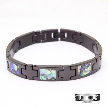 New - Ion Plated Black Stainless Steel Bracelet with Abalone Inlay