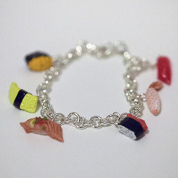 Kawaii Cute Miniature Food Bracelets - Sushi Charm Bracelets - Sterling Silver
