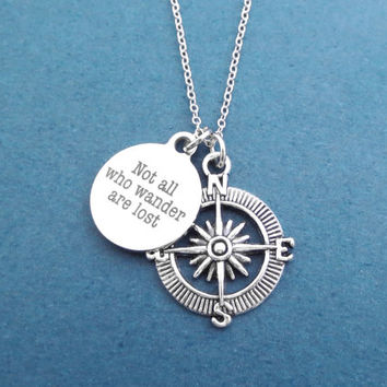 Not all who wander are lost, Compass, Silver, Necklace, Travel, Compass, Necklace, Lover, Friends, Birthday, Christmas, Gift, Jewelry