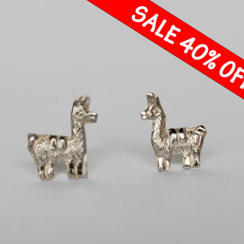 SALE Teeny Tiny, Llama style Silver 950 Stud earrings, minimalist earrings, small white earrings