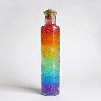 Rainbow Color Water Gel Decorative Gay Pride Glass Bottle, Home Décor, Wedding Décor.