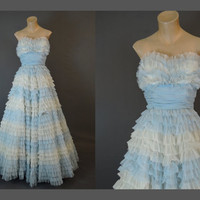 1950s Strapless Gown Blue & White Chiffon Ruffles, fits 34 inch bust, Vintage 50s Prom Wedding Dress, Party Gown