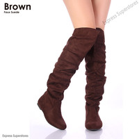 Womens Over Knee Thigh High Slouch Suede Flat Boots Choose Siz