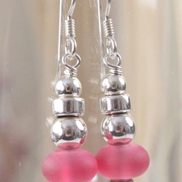 Handcrafted in the USA Sterling Silver Frosted Pink Glass Drop Dangle Earrings New