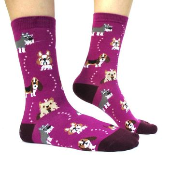 French Bulldog Cesky Yorkshire Terrier Basset Hound Novelty Dog Print Socks for Women in Purple