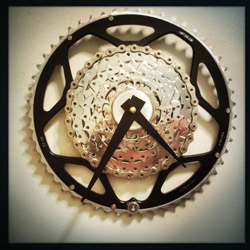 Recycled Bike Parts Clock, Cyclist Wall Clock, Unique Bike Parts Wall Clock, Bicycle Clock