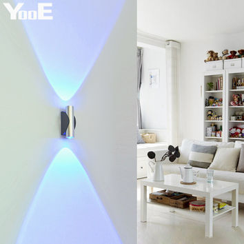 Indoor 2W LED Wall Lamp  AC110V/220V Acrylic Abajur material Aluminum Sconce bedroom Decorate Wall Light Free shipping