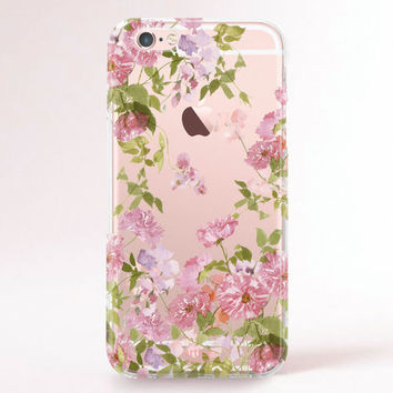 Crystal Clear iPhone 6 case, iPhone 6s case, iPhone 6 plus case, iPhone 6s plus case, iPhone 5S Case, Samsung Galaxy Case - Purple flowers