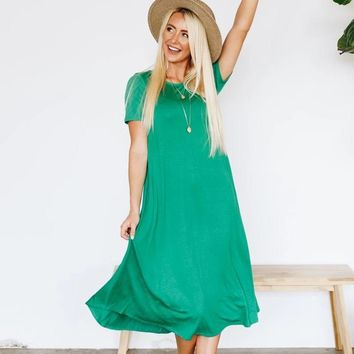 The Alexis Knee Length Dress -  Kelly Green