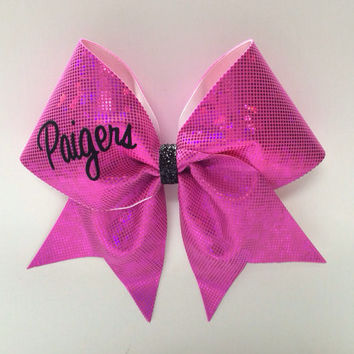 Pink Personalized Cheer Bow