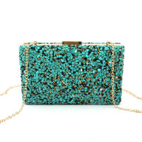 Multi Colored Pebble Beaded Clutch