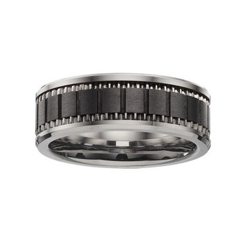 Stainless Steel & Black Ceramic Brick Band - Men