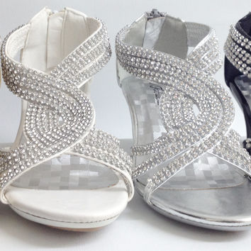 Girls FOREVER LINK Angel37K WEDDING PAGEANT Glitter Rhinestone Strappy Heels Shoes