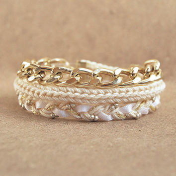 Beige wrap bracelet with chain, braided bracelet with chunky chain