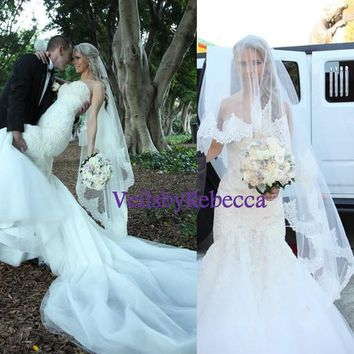 2 tiers chantailly lace drop veil ,blusher lace veil, waltz lace veil, fingertip lace veil,elbow lace veil, Drop Lace Wedding Veils V625