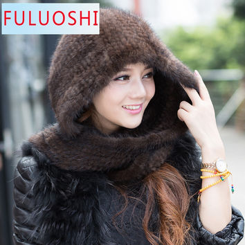 2015 Real Mink Fur Knitting Scarf Scarves Neck Warmer Poncho Shawl Stole 16528