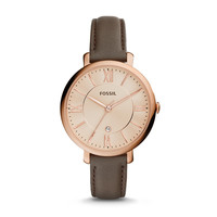 Jacqueline Grey Leather Watch
