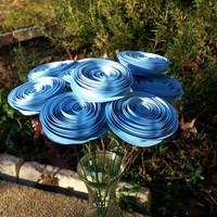 10 Paper Flowers in Tarheel Blue, Baby Blue - Handmade Paper Flowers for Brides, Weddings, Showers, Birthdays