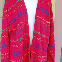 Vintage 80s The Villager Long Oversize Red Fair Isle Nordic Tribal Deep V Neck Cardigan Sweater Size Medium