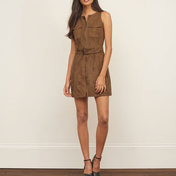 Faux Suede Sleeveless Shirt Dress