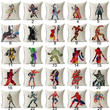 Marvel Comics Super Hero Cushion Cover Captain America Hawkeye The Avengers Home Decorative Pillow Cover for Sofa Cojines