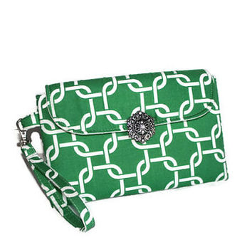 Green and white bridesmaid clutch,  bridesmaid gift, flap clutch, bridal party clutch, spring time bag, tea party bag, St. Patty's clutch.