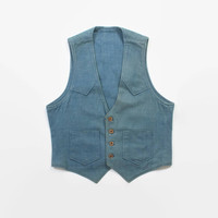 Vintage 70s Denim VEST / 1970s Men's Blue Denim Western Vest M