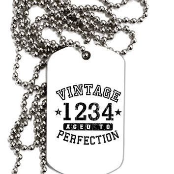 Vintage Birth Year Distressed Personalized Adult Dog Tag Chain Necklace by TooLoud