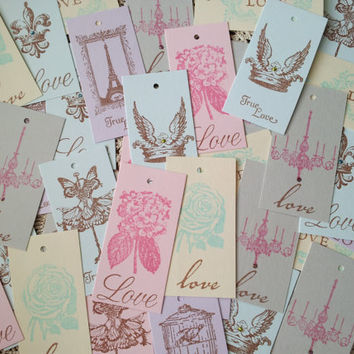 Wedding Tags Collection of 100 Love Tags French Inspired Shabby Chic